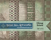 Vintage Ireland Digital Scrapbook Paper Pack, Celtic Knots, Celtic Cross, Irish Set of 6 12x12 St Patricks Day Plaid Tartan Grunge jpg files