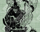 Digital Download Scary Witch Costume for Halloween,digi stamp, Fantasy Gothic Digital Transfer,  Vintage graphic