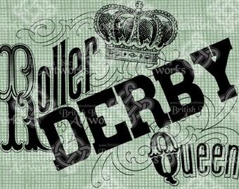 Digital Download Roller Derby Queen, Derby Girl digi stamp, digis, digital graphic, Antique Illustration, Roller Skating, Roller Skates