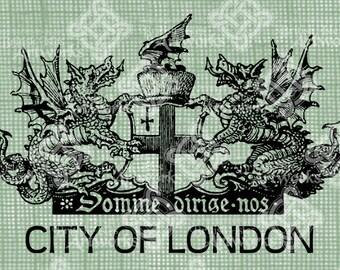 Digital Download City of London Coat of Arms UK England Heraldry Crest Antique Illustration, Vintage digi stamp, transfer graphic