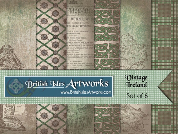 vintage ireland digital scrapbook paper pack celtic knots