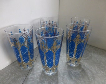 5 Blue & Gold Fleur de Lis 12 oz Glasses Vintage Barware Glassware