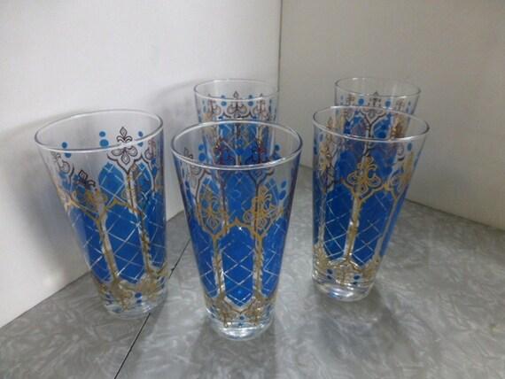 5 Blue Amp Gold Fleur De Lis 12 Oz Glasses Vintage Barware
