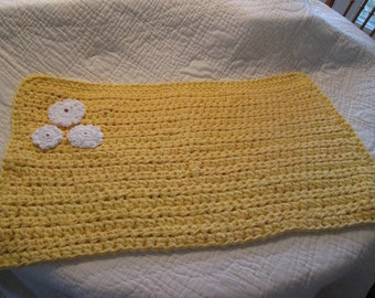 Crocheted Bath Mat Triple Cotton Yarn Sunshine Yellow with White Crocheted Flowers