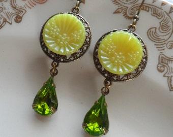 Vintage Glass Button Earrings- Lemongrass