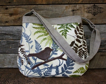 The beauty of Nature Handbag / Birds / Ferns / Large Back Pocket