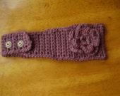 Handmade Crochet Prune(Brown) Headband, Earwarmer, Prune(Brown) Flower appliqued, Accessories, Women/Teens, Fall Fashion, Winter, Gifts