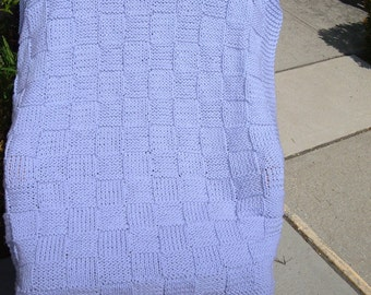 """Super Sale - """"Lilac Checkerboard Basket"""" - 35"""" x 45"""" -  Knitted Baby/Lap Blanket - FREE SHIPPING"""