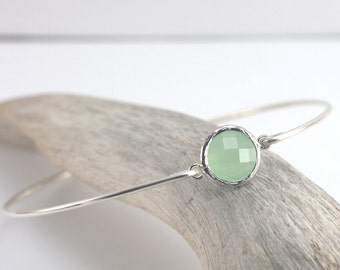 Mint Green Quartz and Sterling Silver Bangle Bracelet, Silver Bracelet, Green Bangle Bracelet, Mint and Silver Bracelet [#830]