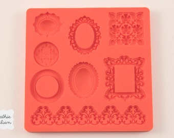 frame silicone rubber mold - 8 ornamental designs - resin, polymer clay, mod melts, candy, utee, plaster, wax, soap, epoxy clay