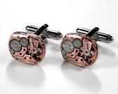 Men's OMEGA Rose Gold Cufflinks Watch Cuff Links Steampunk LUXURY Anniversary Wedding Groom Valentine's Day Gift - Jewelry by edmdesigns