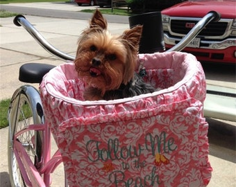 Bicycle Basket Liner for - Dogs - Pets - Includes Embroidered Personalization - Memory Foam Pad Option