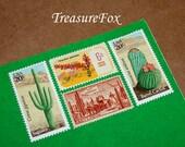SOUTHWESTERN DESERTS .. Unused Vintage Postage Stamps .. Enough to mail 5 letters, Wedding invitation postage, succulents, Desert plants
