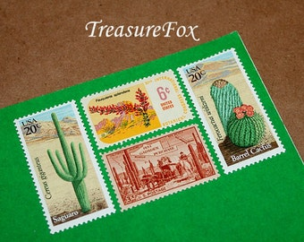Unused Vintage Postage Stamps By TreasureFox Enough To Mail 5