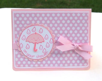 Handmade Baby Shower Card, Pink and White Polka Dot Card, Baby Girl Greeting Card, Umbrella and Rain Drops