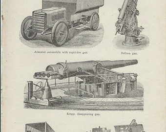1917 Vintage Book Plate - Types Of Cannon / Vintage Illustration  / Weapons / Rapid Fire Gun / Balloon Gun