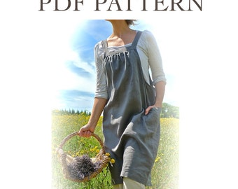 Easy Fit womens pinafore dress sewing pattern pdf