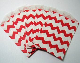 20 Red and White Chevron Bags - Little Bitty Paper Bags Pack of 20 Valentine's Day