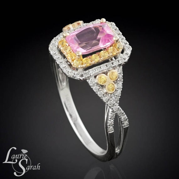 Pink Sapphire with Double Halo of Diamonds and Yellow Sapphires - LS1989