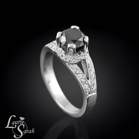 Black Diamond Engagement Ring, Diamond Engagement Ring, Diamond Halo Ring - Crown Setting for the Queen in your Life - LS759