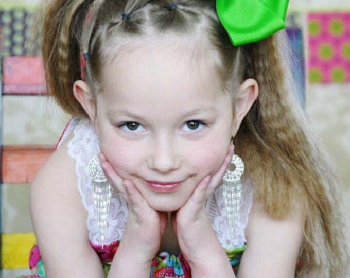 6 in. Apple Green Hair Bow - XL Hair Bow - Big Hair Bows - Girl Hair Bows