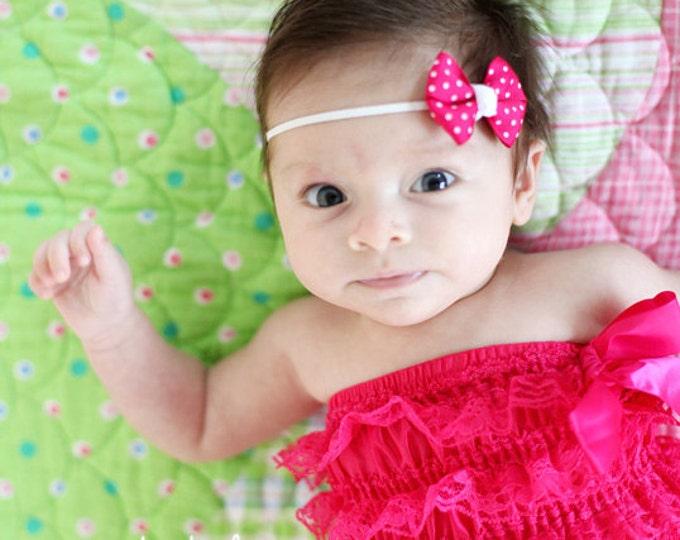 Shocking Pink Dots Newborn Headband - 2 in. Bitty Bow on an Elastic Headband - Girls Hair Bows - Baby Headband