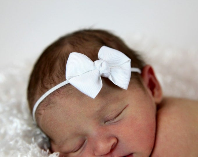White Newborn Headband - 2 in. Bitty Bow on an Elastic Headband - Girls Hair Bows - Baby Headband