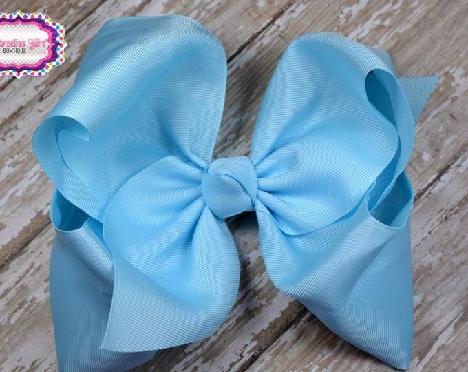 6 in. Blue Boutique  Hair Bow - XL Hair Bow - Big Hair Bows - Girl Hair Bows