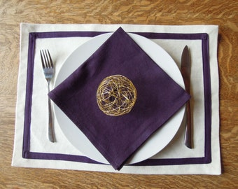 4 Organic Placemats with Border, Table Linens, Hemp, Natural, Plum, Purple