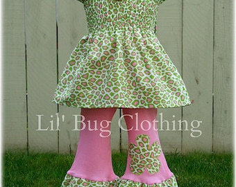Leopard Print Girl Outfit, Leopard Print PInk Lime Smocked Top & Pant Outfit, Leopard Animal Print Pageant Wear Outfit