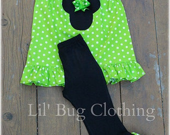 Custom Boutique Lime Minnie Mouse Fall Pant Set 3m 6m 9m 12 18 24 2t 3t 4t 5t 6 7 girl