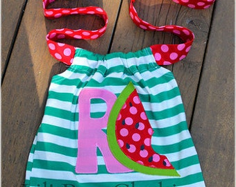 Custom Boutique Green Stripes  Personalized Watermelon Summer Halter Top