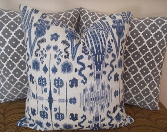 Indigo  Ikat Lacefield pillow sham cover Mumbai Indigo Blue and  beige