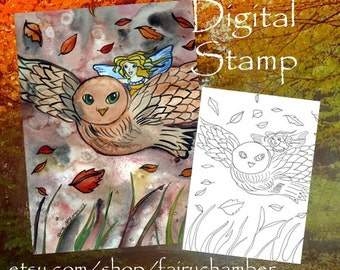 Owl Flight Digital Stamp Instant Download Fantasy Art Owl Fairy Flying Autumn Fall Nature Coloring Page  Lineart for cards and crafts