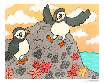 Puffins 8x10 or 5x7 Illustration Print