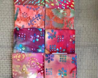 Batik Fat Quarter Lot of 8 Pieces Bali Batik