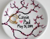 Spring Cherry Blossom Ring Dish - Customized Anniversary and Wedding Gift - Personalized Spring Wedding