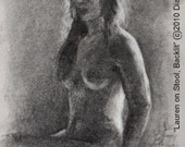 LAUREN ON STOOL-- 18x12 inch nude female Charcoal and chalk figure drawing on grey paper, unframed, by Diana Moses Botkin