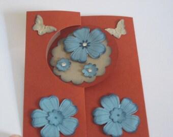 Happy Birthday Circle Swing Card Flowers and Butterflies Handmade