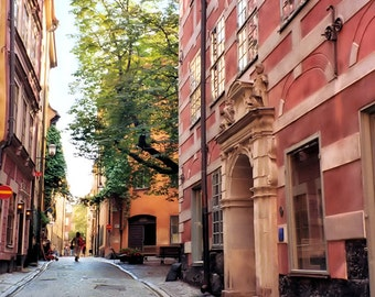 Travel Photography, Old Town Stockholm Sweden Photos, Cobblestone street prints, rust orange earth tones home decor 8x10 matted to 11x14