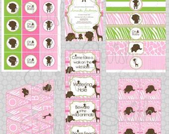 Pink Safari Baby Shower Printables - girl