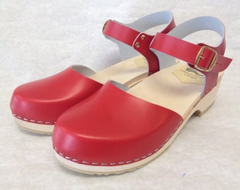 Red Dalanna Low Heel with buckled ankle strap