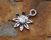 2  Silver Daisy Charms - 13.4 x 11.4  Fine Silver Plated Pewter