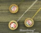 3 Sets 38mm Round Wooden Pendant Necklace With 25mm Setting / Tray - HW707B