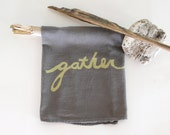 Gather Dish Towels / One Towel / Thanksgiving Decoration / Holiday Decor / Gray / SIlver / Hostess Gift
