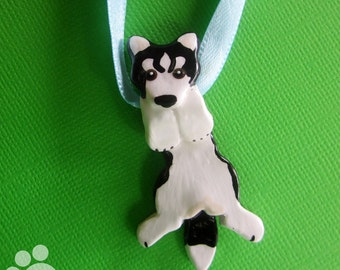 Black Siberian Husky Hangin' On Artist Hand-made Clay Pendant B4