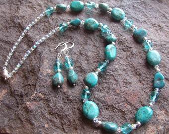 Necklace and Earring Set Aqua