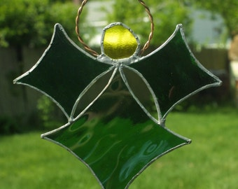 Stained Glass Green Angel Suncatcher
