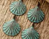 SCALLOP SHELLS - (4) Greek Copper and Patina Scallop Shells