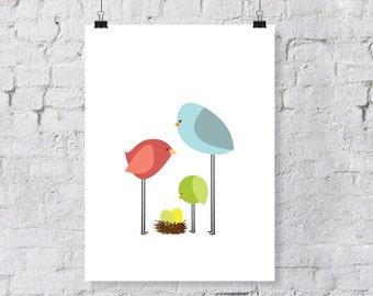 birdie parents & toddler  - nursery art print